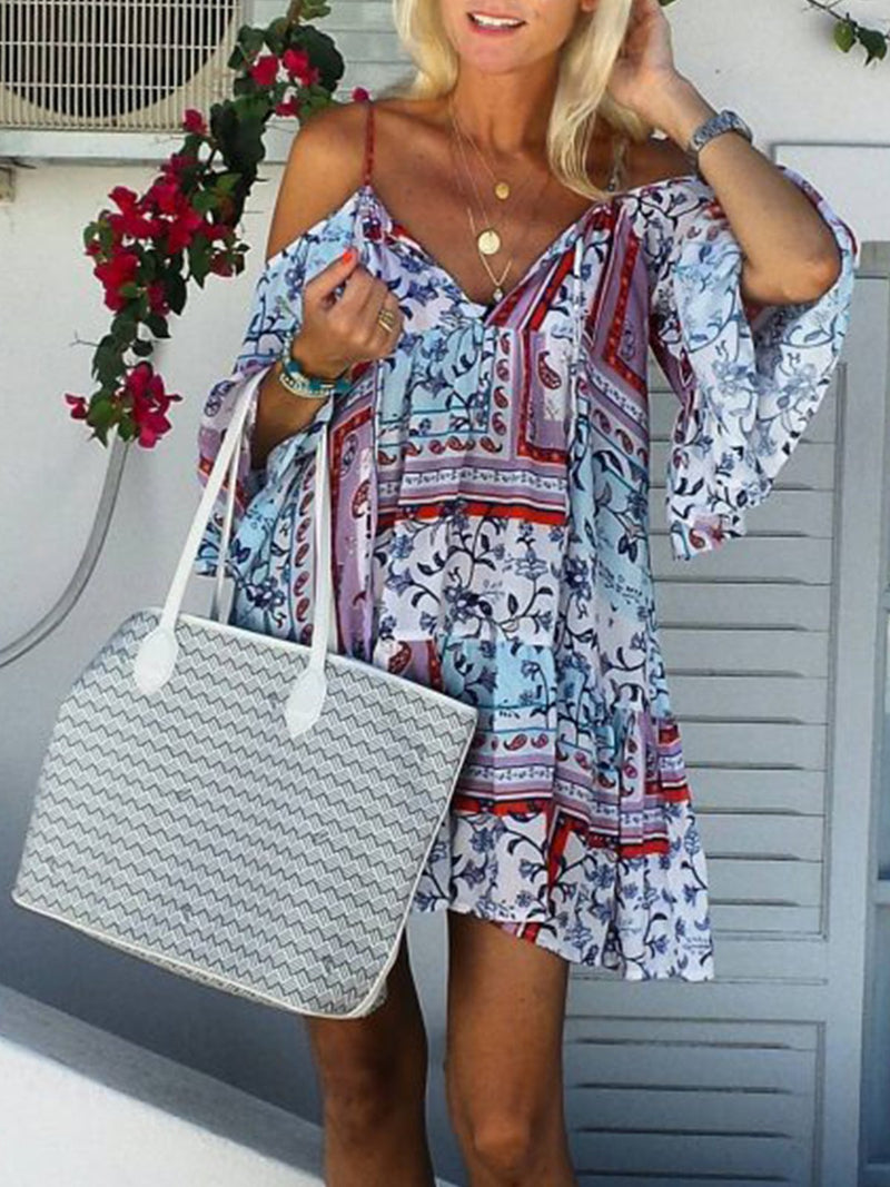 Off Shoulder Multicolor Women Summer Dresses Shift Color-Block Dresses