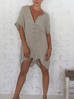 Women Linen Shirt Jumpsuit