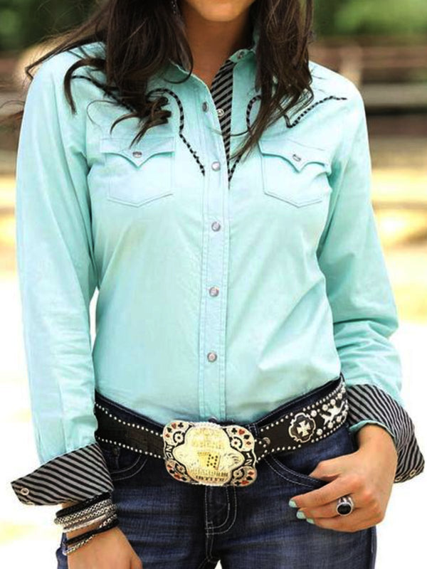 Womens Long Sleeve Plus Size Western Shirt