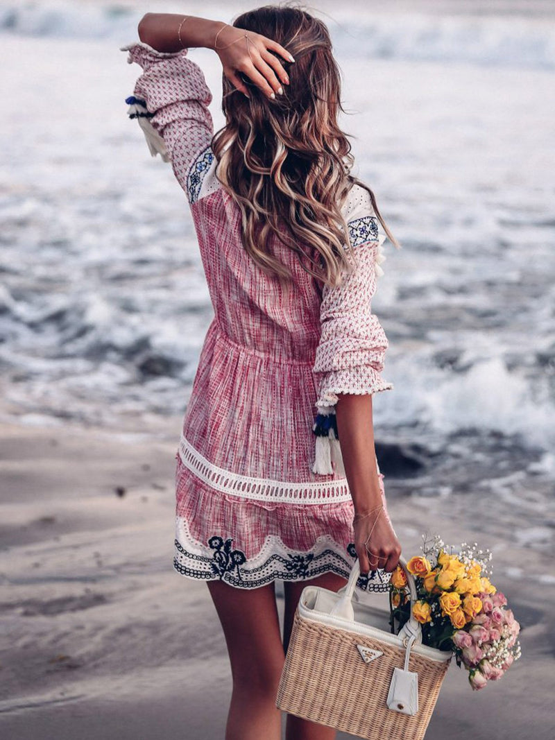 Elegant Long Sleeve Patchwork Dresses