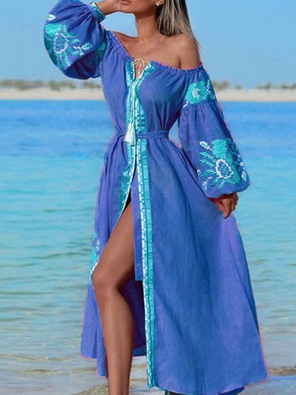 Bohemian Style Long Sleeve Beach Holiday Maxi Dress