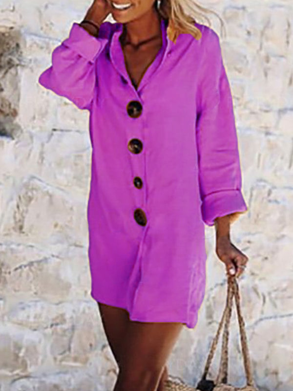 Buttoned Solid Shirt Collar Casual Dress