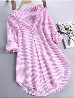 Women Causal Stripe Long Sleeve Tops Shirt Collar Loose Shirts
