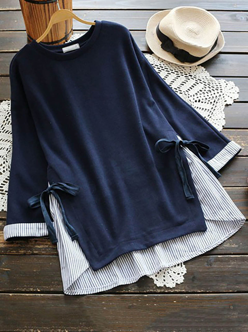 Women Fake Two Pieces Stripe Patchwork Bandage Casual Long Sleeves Blouses