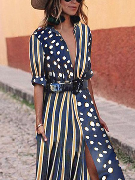Stand Collar Deep Blue Women Floral Dresses Swing Daily Striped Dresses