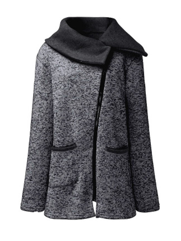 Asymmetrical Side Zipper Shawl Collar Coat