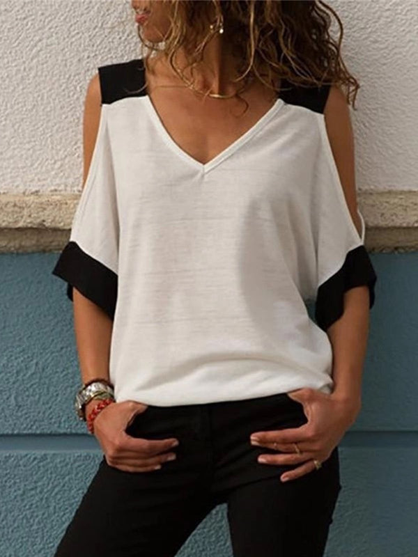 Casual Appliqued Short Sleeve T-Shirts