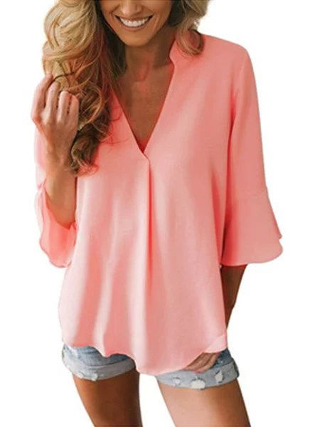 Casual V Neck Solid Blouse