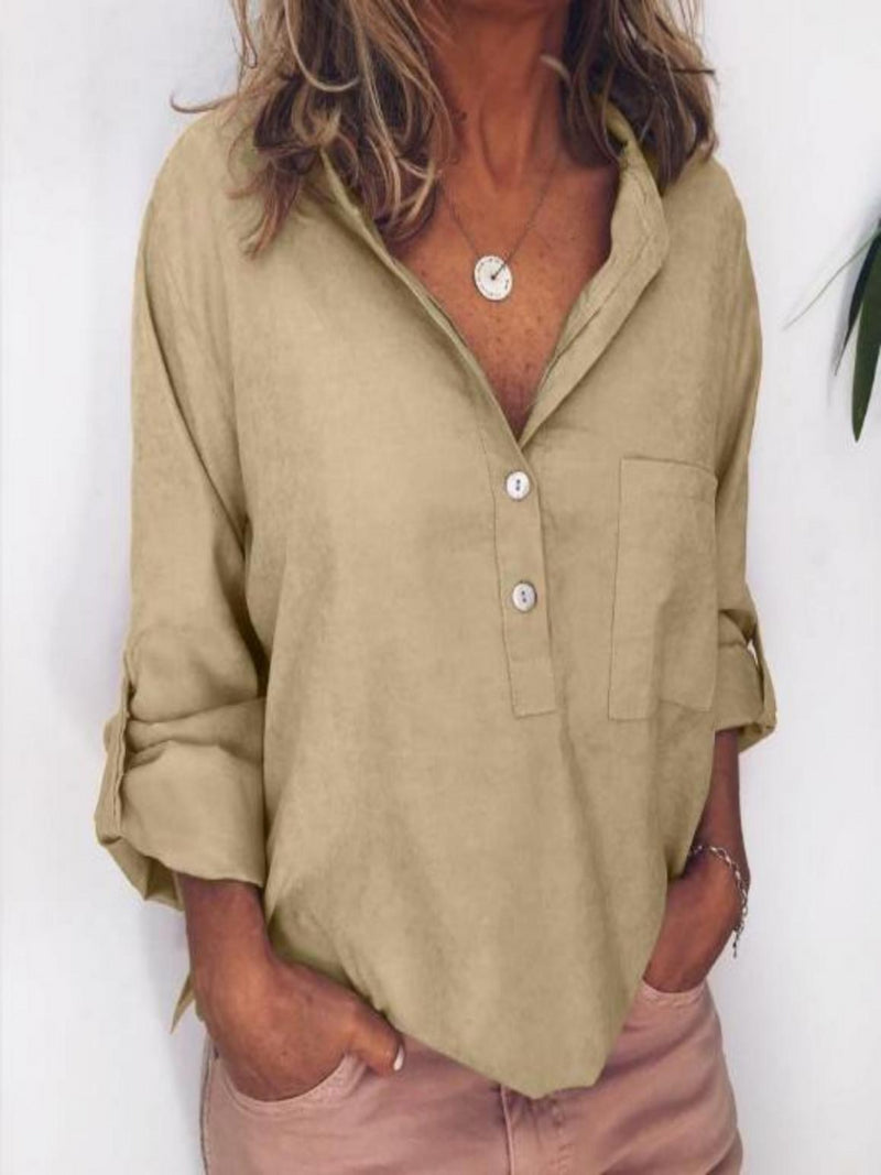 Casual Linen Pockets Long Sleeve Blouses&shirts