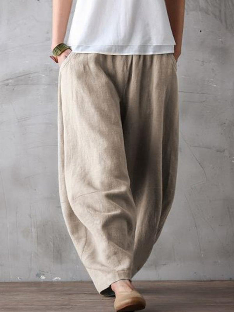 Cotton-Blend Solid Pants
