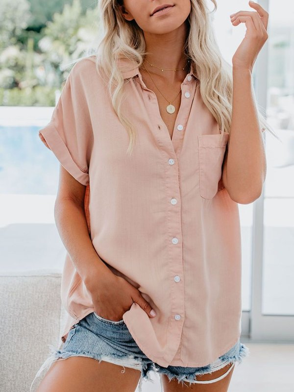 Casual Short Sleeve Plus Size Tops With Pockets