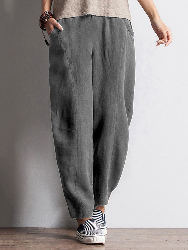 Solid Pockets Elastic Waist Pants