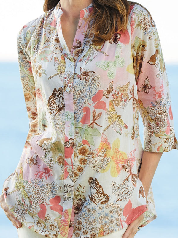Tribal Printed Buttoned Down Chiffon Blouse