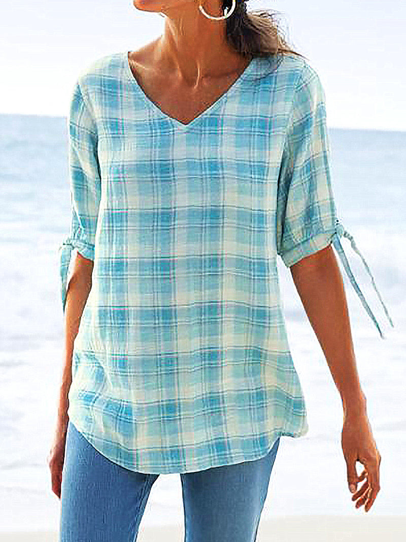 V Neck Half Sleeve Plaid Shirts Blouses
