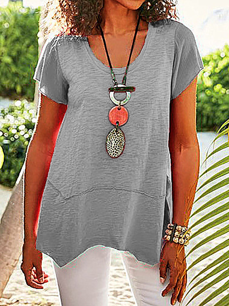 Asymmetrical Hem Short Sleeve Tee Shirts