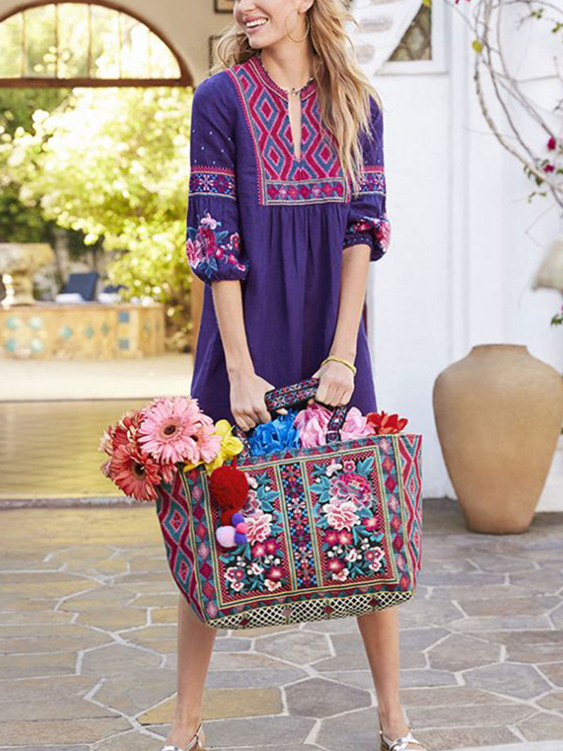 Blue Half Sleeve Round Neck Casual Floral Dress