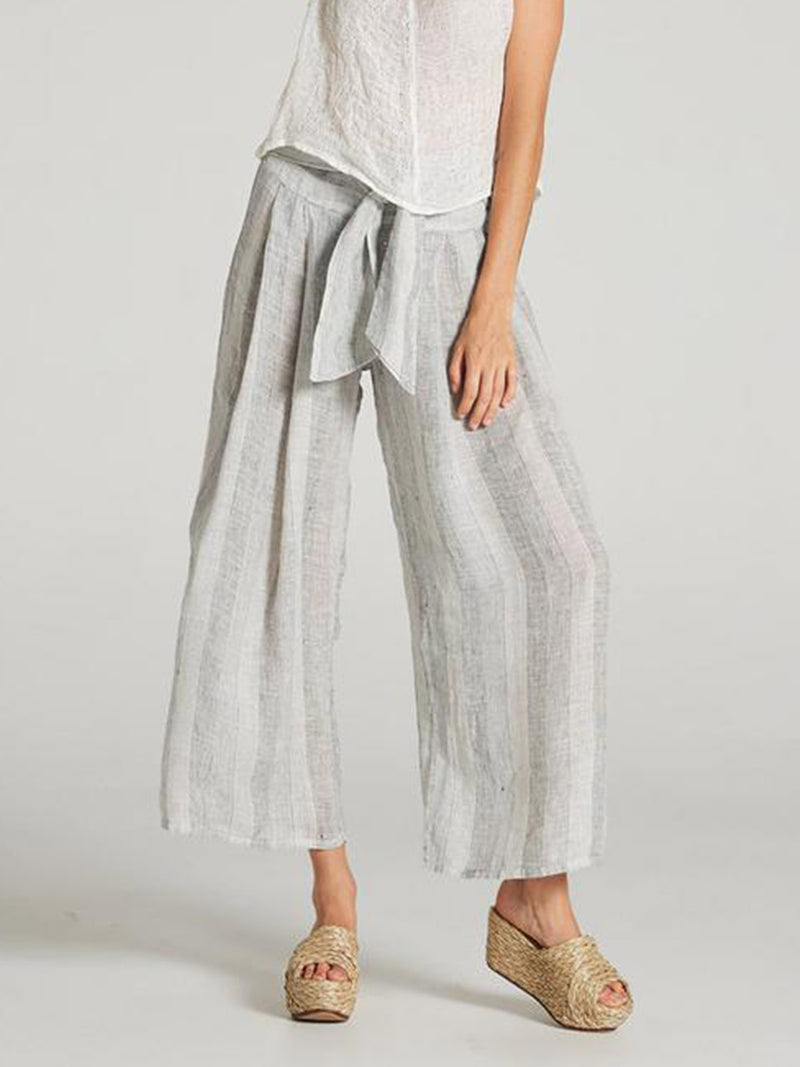 Summer Cotton and Linen loose Striped Trousers