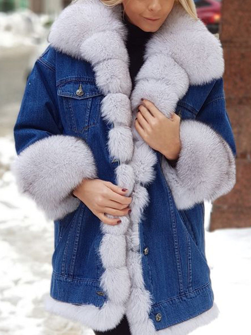 Ladies Winter Coat Denim Jackets Fluffy Outerwear Winter Clothing Hoodie Long Sleeve Shift Coats Outerwear