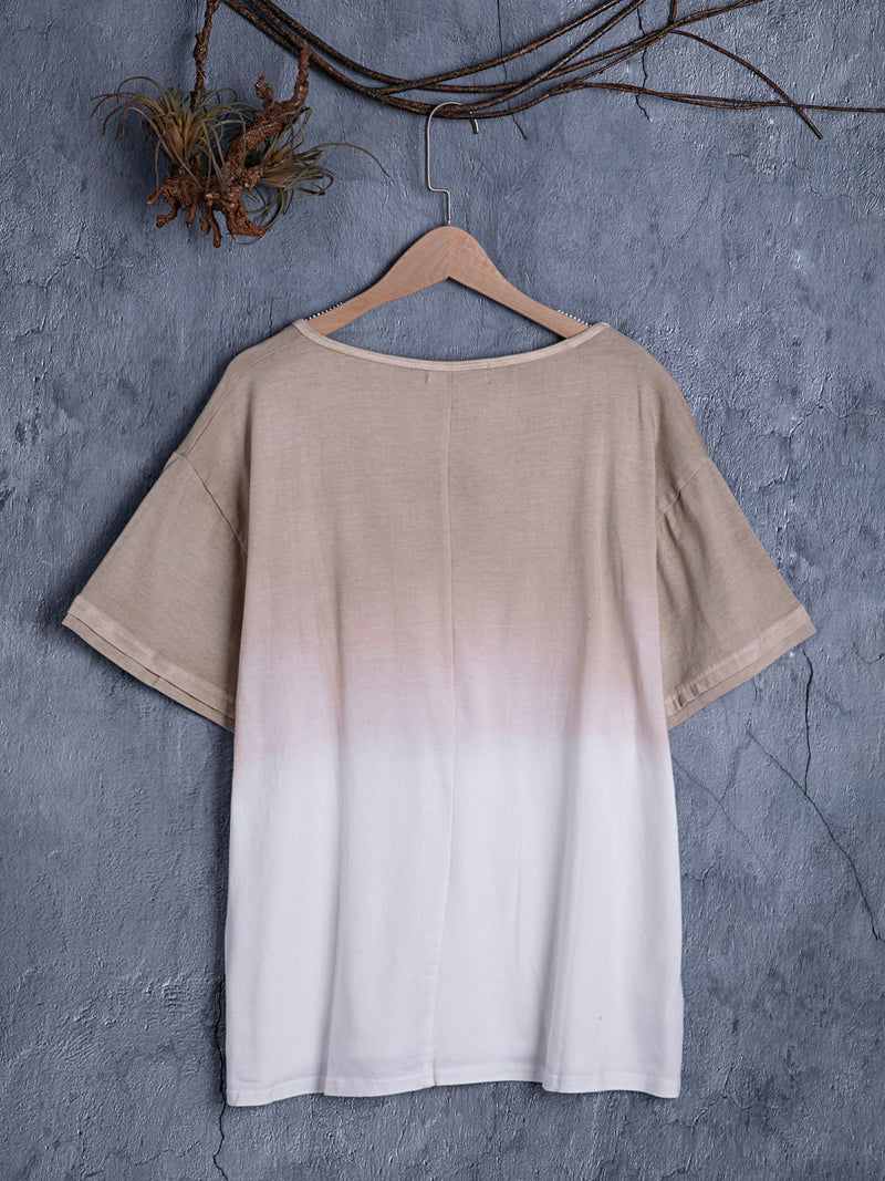 Short Sleeve Casual V Neck Dip-Dyed Shirts & Tops