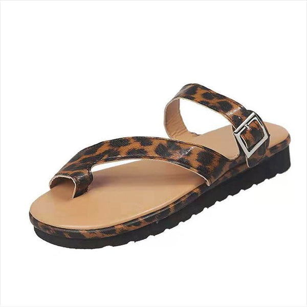 Pi Clue Leopard Leather Summer Casual Flat Heel Slippers