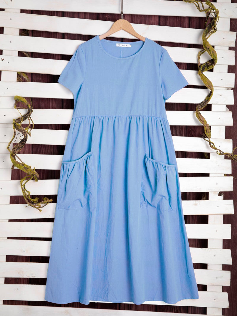 Women Plus Size  Short Sleeve  Solid Loose Casual  Midi  Dress