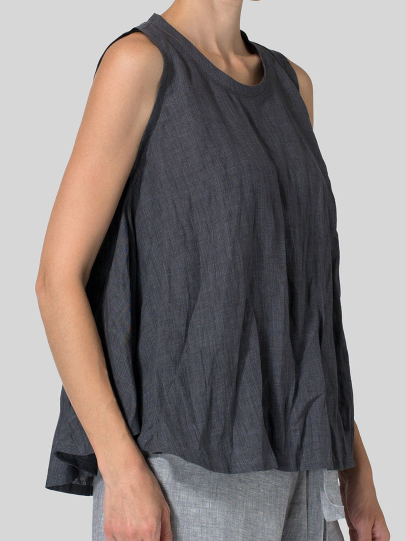Casual Cotton Crew Neck Sleeveless Shirts & Tops