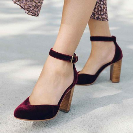 Women Elegant Closed Toe Chunky Heel Ankle Strap Sandals