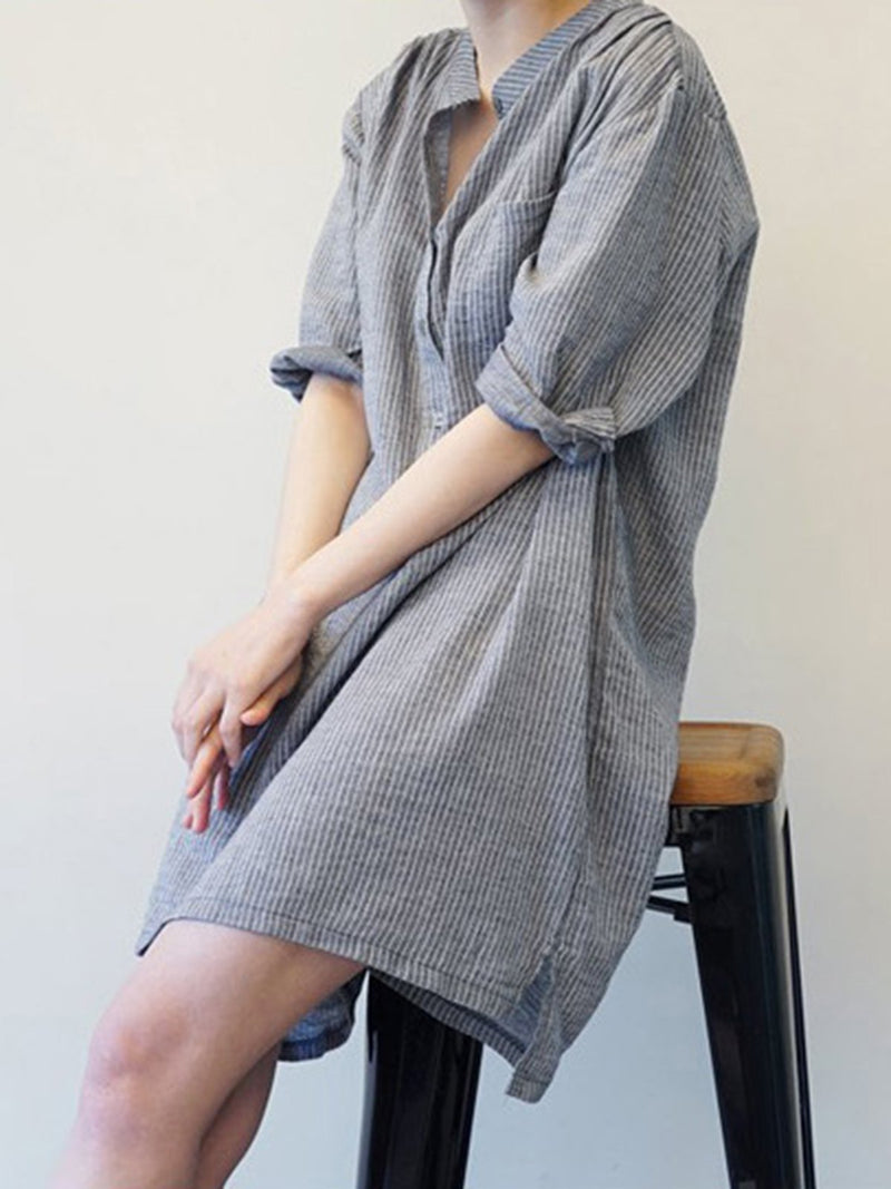 Deep Gray Stand Collar Casual Shirt Dress