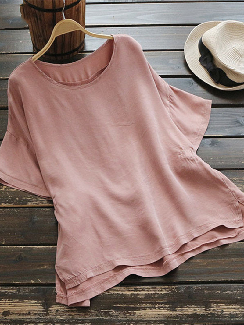 Crew Neck Pleated Short Sleeve Casual Shirts