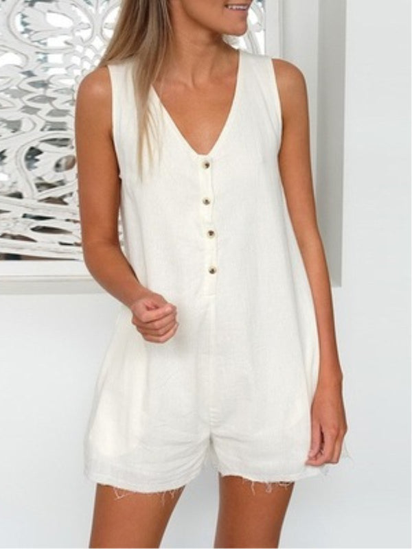 Casual Solid Buttoned V-Neck Sleeveless Jumpsuits
