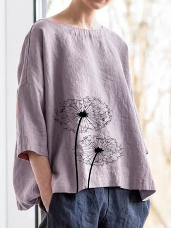 Women Cotton 3/4 Sleeve Round Neck Casual Tops