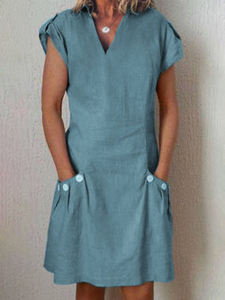 Women Linen Casual Short Sleeve Paneled Causal Dresses