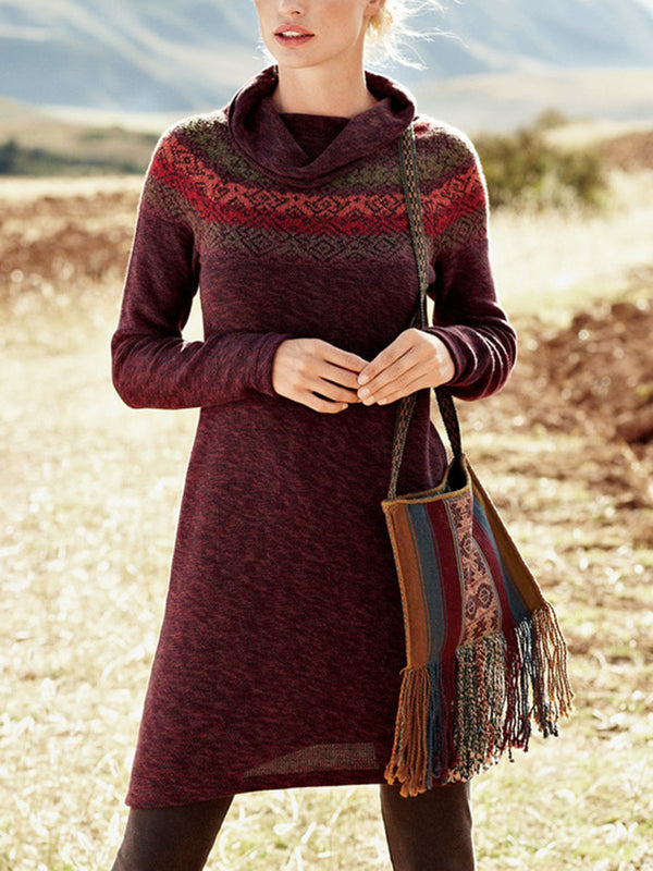 Casual Knitted Jacquard Dresses