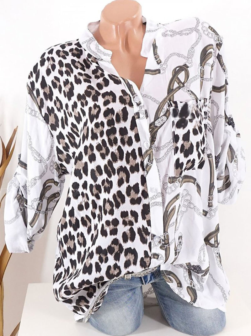 Leopard Printed Long Sleeve Button Down Blouses
