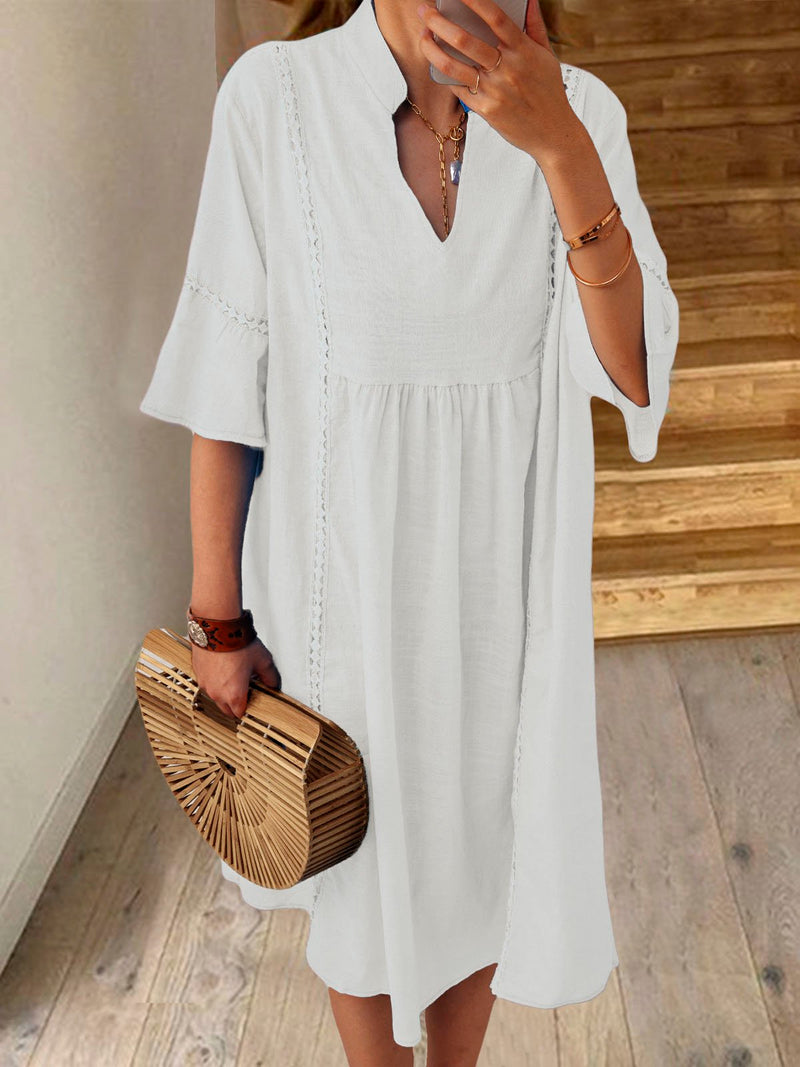 Women Solid Short Sleeves Crochet Casual Vacation Dresses