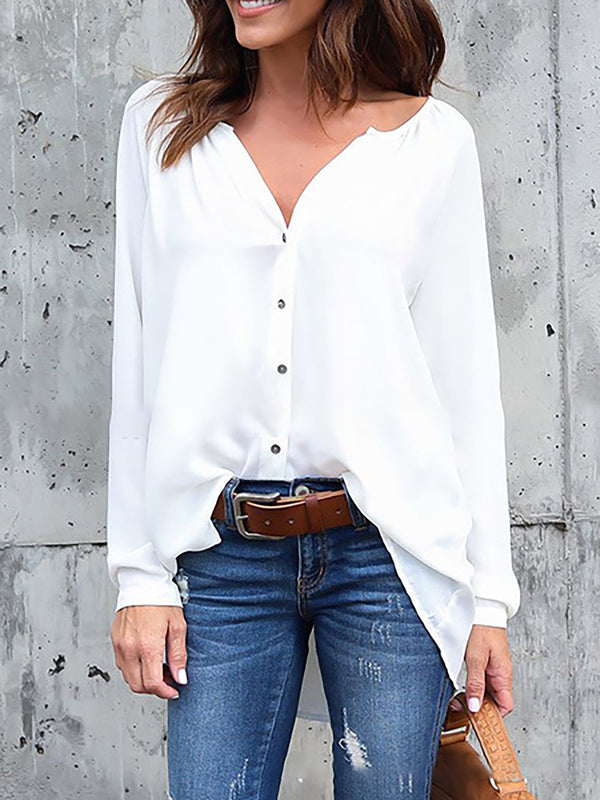 Long Sleeve Solid Shirts & Blouses