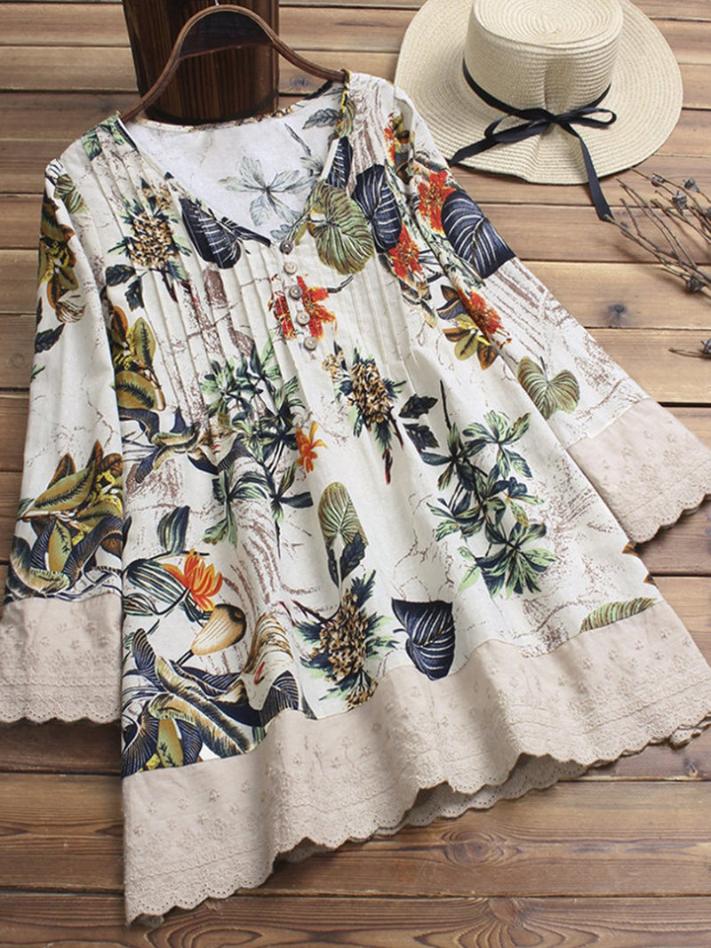 Plus Size V Neck Floral-Printed Graphic Blouses