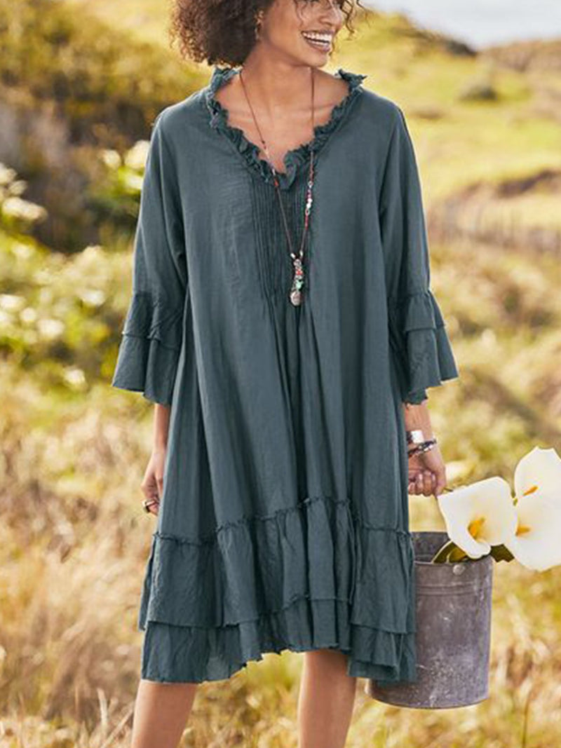 Women V Neck Solid Half Sleeve Casual Dresses