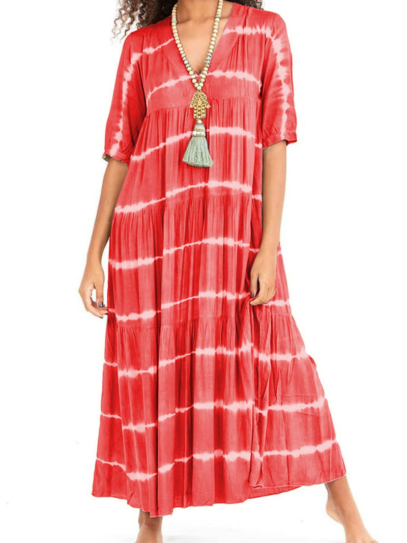 V Neck Women Printed Geometric Maxi Dresses