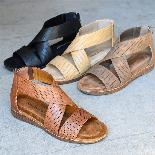 Women Casual Daily Summer Comfy Back Zipper Sandals