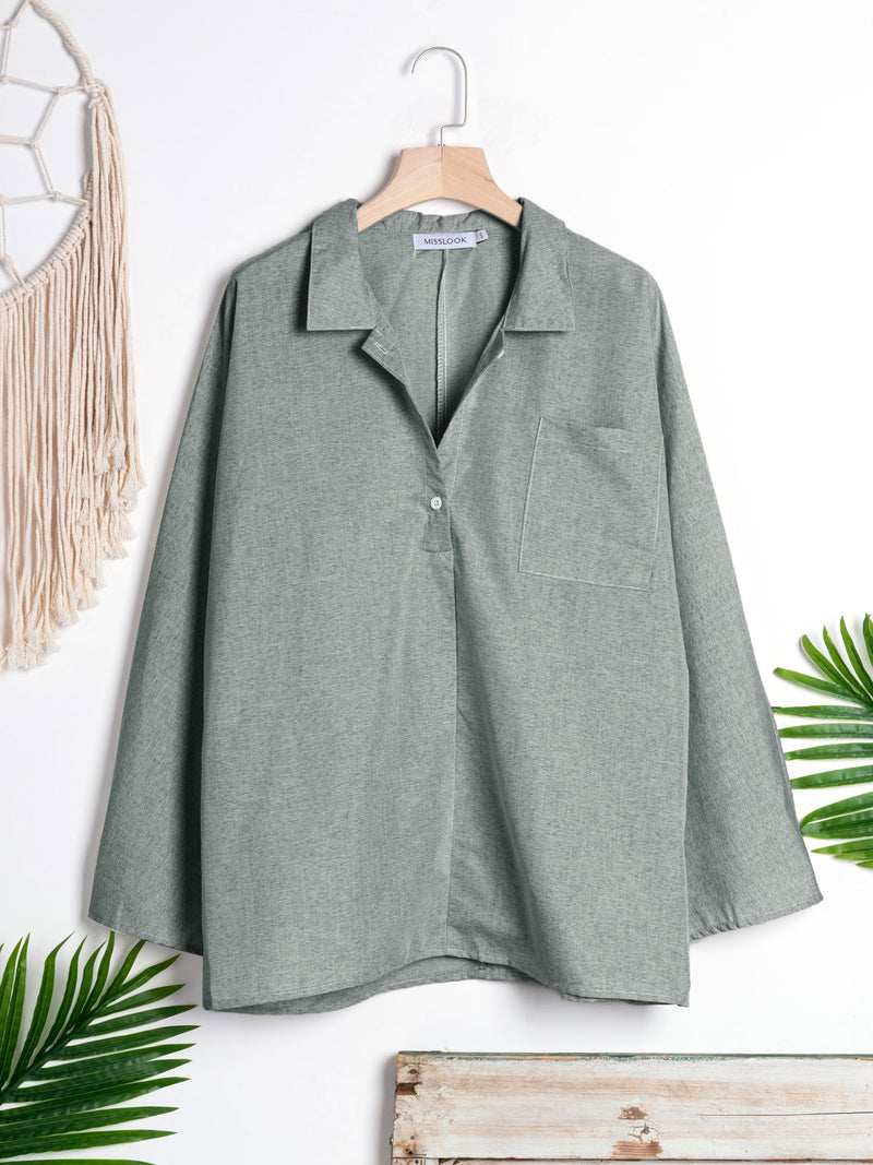 Long Sleeve Solid  Cotton Blouses