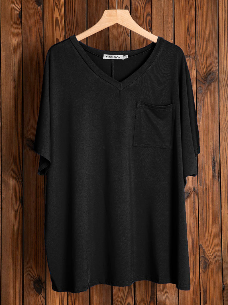 Women Casual V-neck Pocket T-shirt