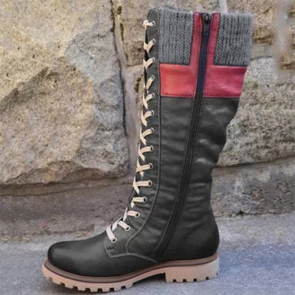 Women Cotton Artificial Leather Mid-Calf Zipper Plus Size Daily Vintage Soft Waterproof Snowboots