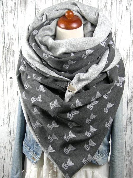 Grey Floral Casual Scarf