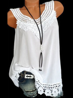 Crew Neck Casual Sleeveless Cotton-Blend Tops