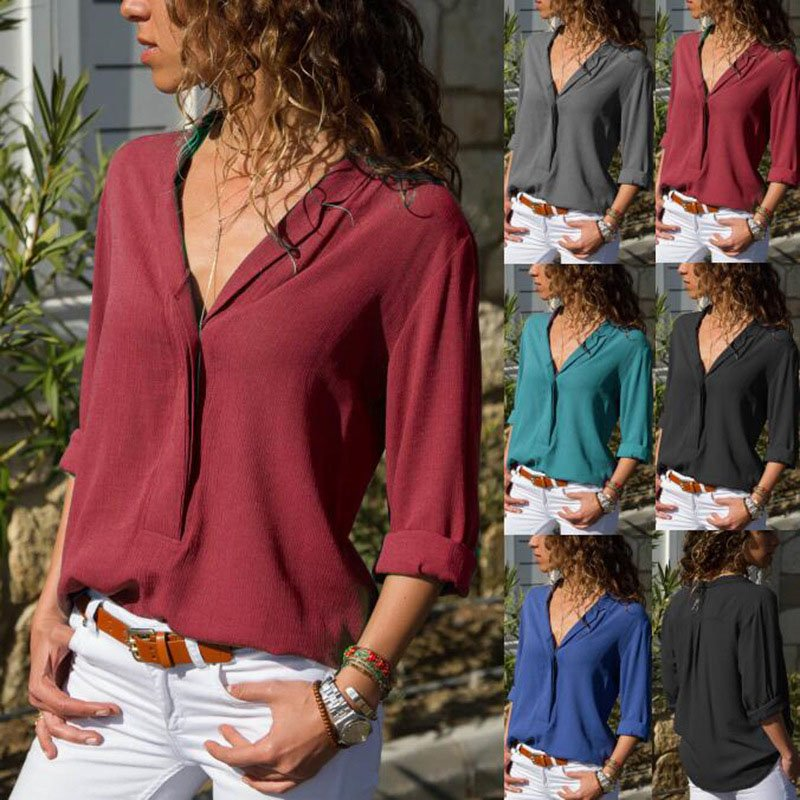 Women Fashion Solid  V Neck Long Sleeve Blouse