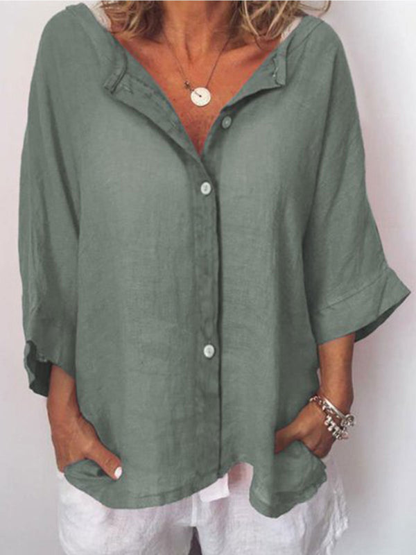 Plus Size Casual Solid V Neck 3/4 Sleeve Tops