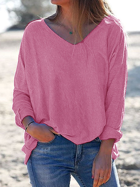 V Neck Long Sleeve Solid Shirts