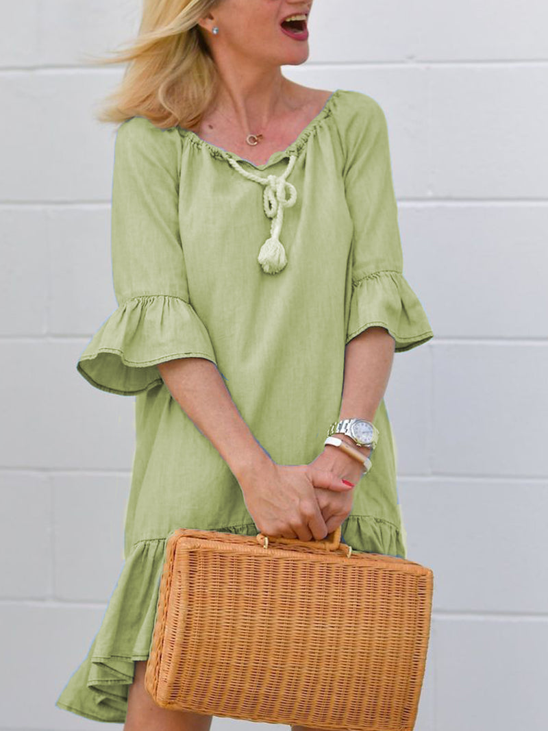 Casual Cotton Half Sleeve Dresses