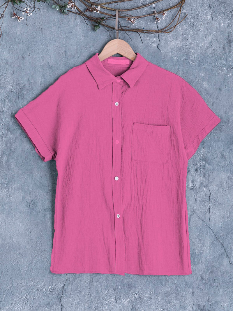 Women Short Sleeve Buttoned Down Pockets Plus Size Shirts